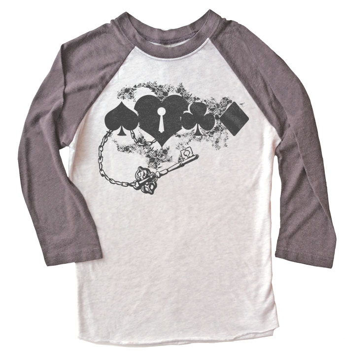 Key to My Heart Raglan T-shirt 3/4 Sleeve - Grey/White