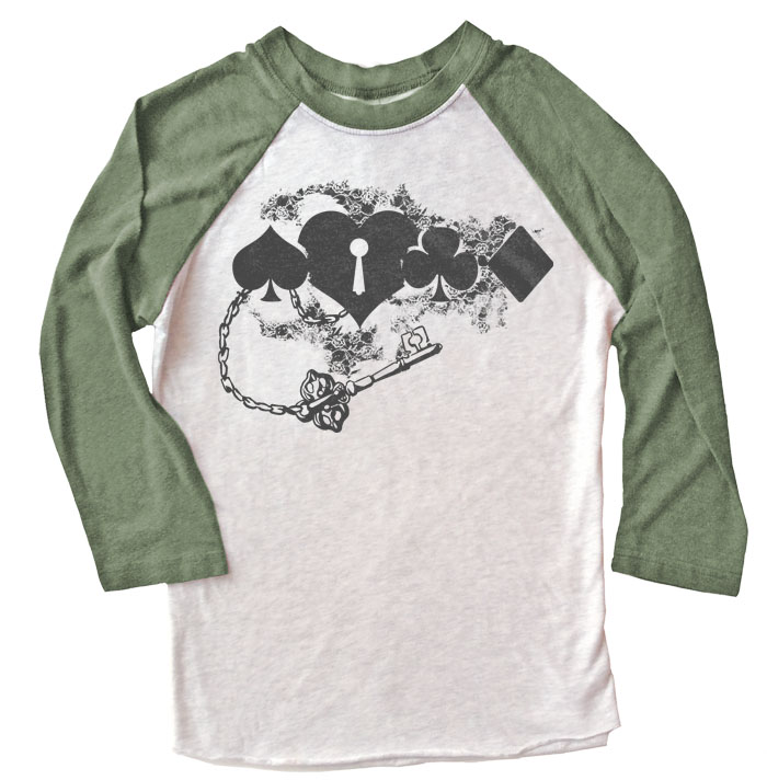 Key to My Heart Raglan T-shirt 3/4 Sleeve - Olive/White