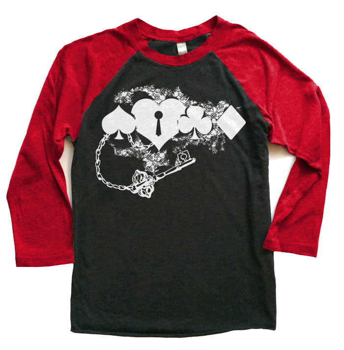 Key to My Heart Raglan T-shirt 3/4 Sleeve - Red/Black