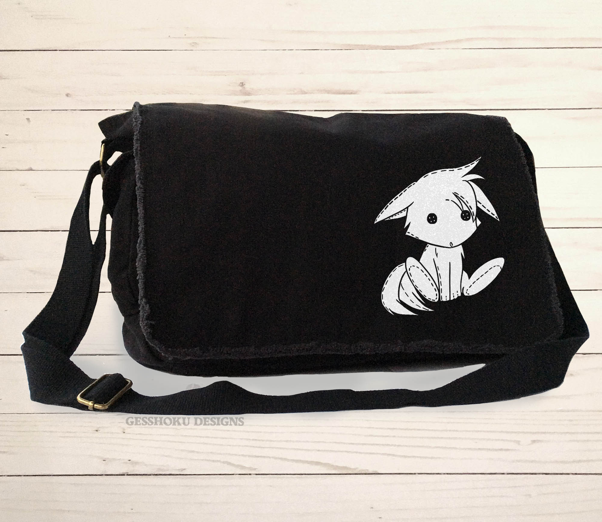 Plush Kitsune Messenger Bag - Black