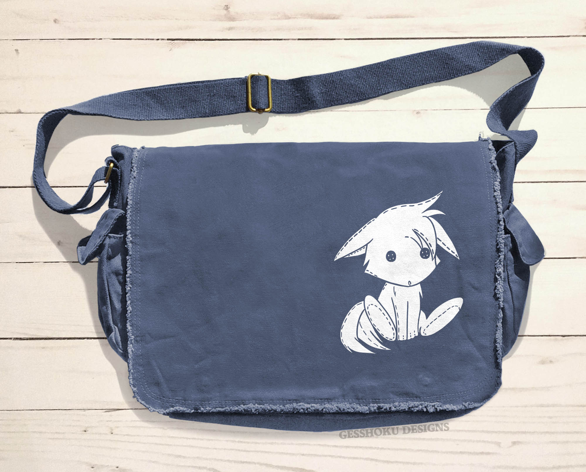 Plush Kitsune Messenger Bag - Denim Blue