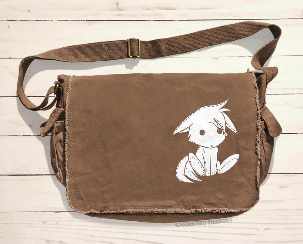 Plush Kitsune Messenger Bag - Brown
