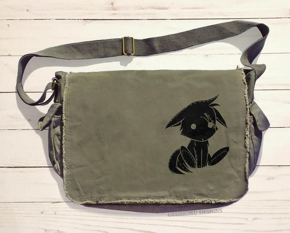 Plush Kitsune Messenger Bag - Khaki Green