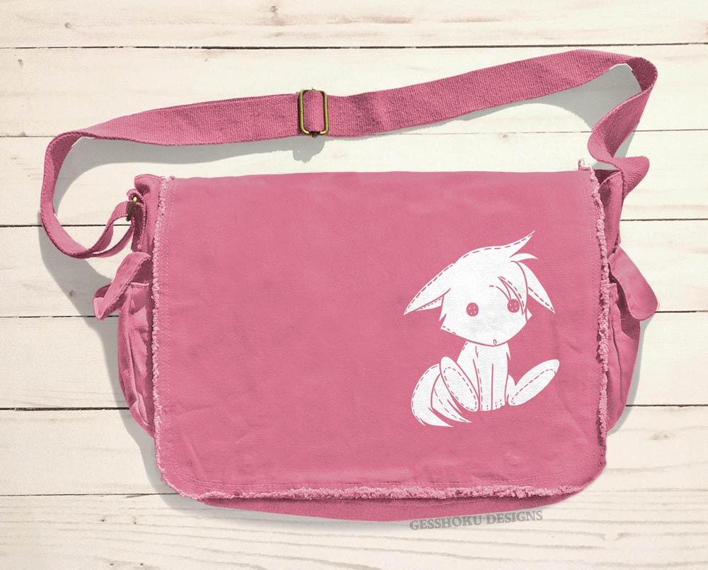 Plush Kitsune Messenger Bag - Pink