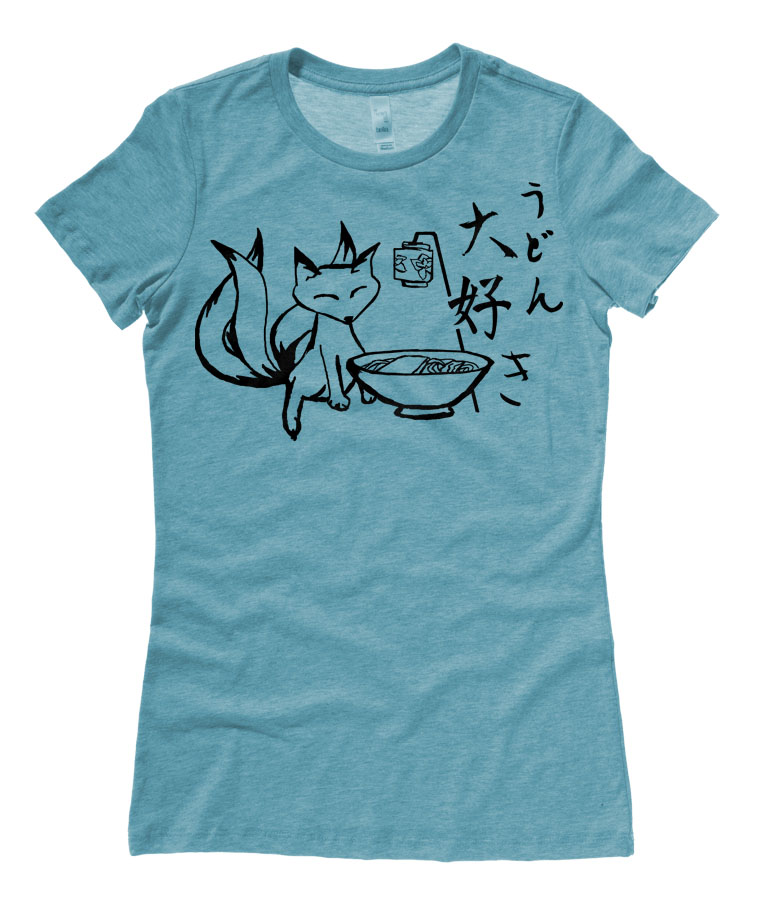 Kitsune Udon Ladies T-shirt - Heather Teal