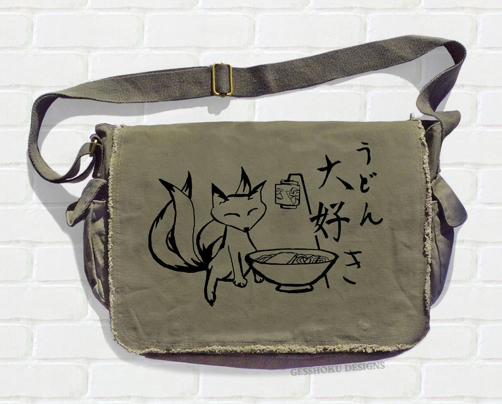 Kitsune Udon Messenger Bag - Khaki Green