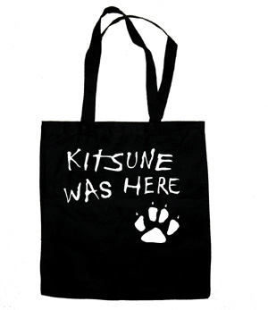 Kitsune was Here Tote Bag (white/black)