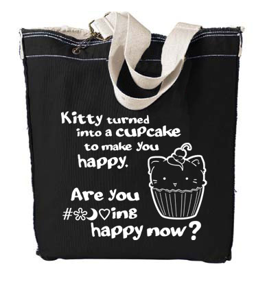Kitty Turned into a Cupcake Designer Tote Bag - Ocean Blue