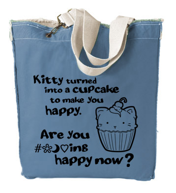Kitty Turned into a Cupcake Designer Tote Bag - Black
