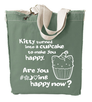 Kitty Turned into a Cupcake Designer Tote Bag - Leaf Green