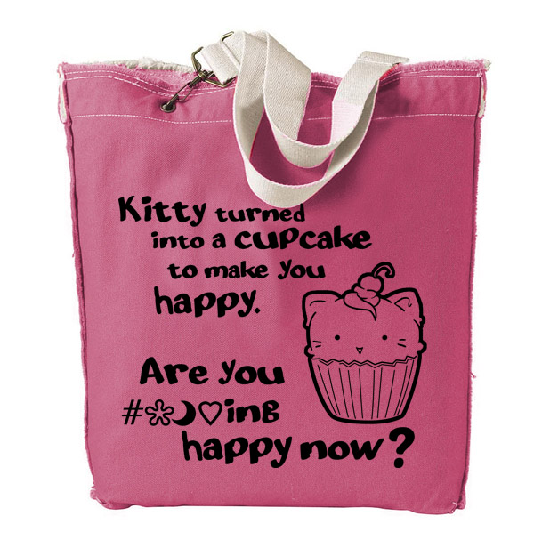 Kitty Turned into a Cupcake Designer Tote Bag - Pink