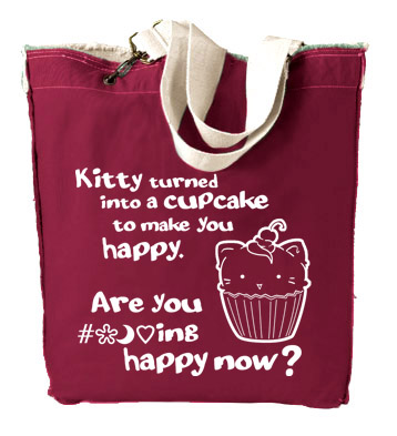 Kitty Turned into a Cupcake Designer Tote Bag - Red