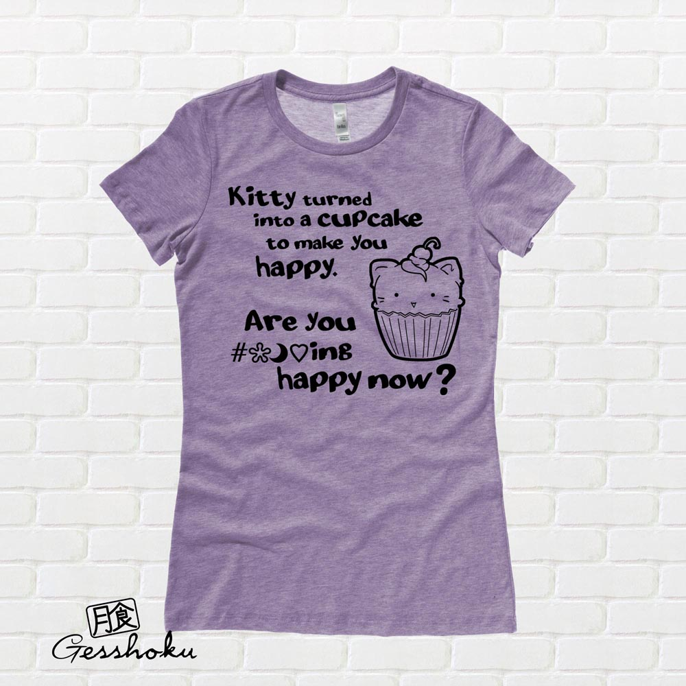 Kitty Turned into a Cupcake Ladies T-shirt - Heather Purple