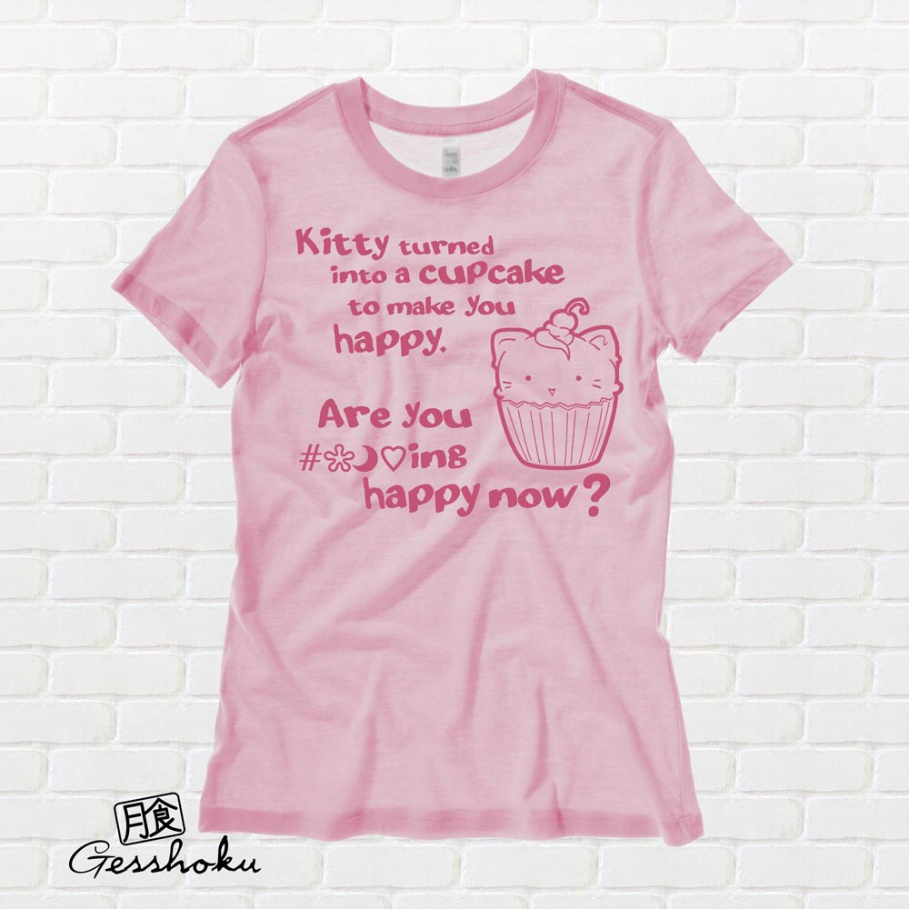 Kitty Turned into a Cupcake Ladies T-shirt - Light Pink