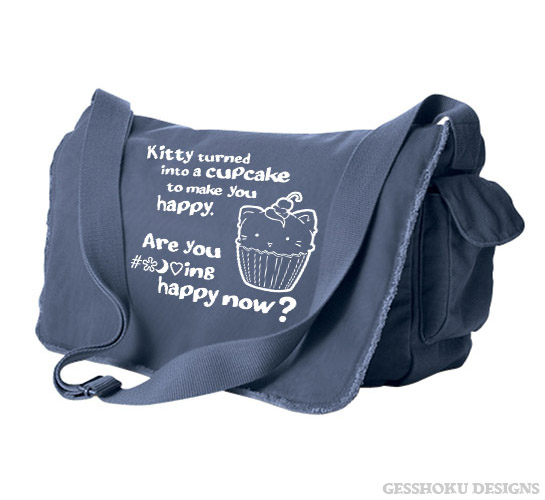Kitty Turned into a Cupcake Messenger Bag - Denim Blue