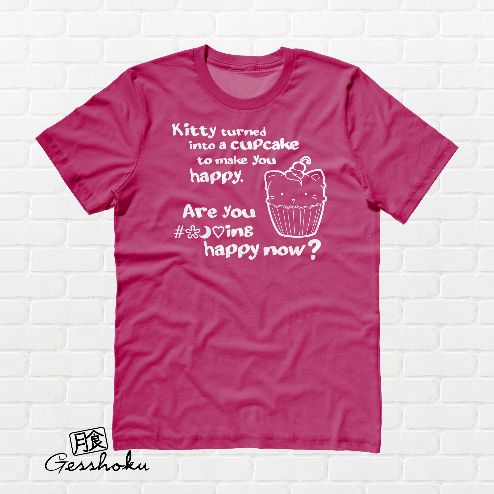 Kitty Turned into a Cupcake T-shirt - Hot Pink