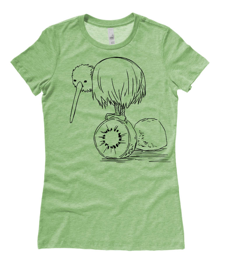 Fruity Kiwi Bird Ladies T-shirt - Heather Green