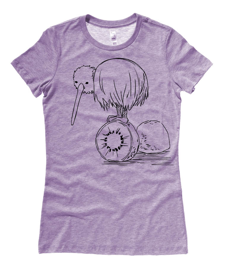 Fruity Kiwi Bird Ladies T-shirt - Heather Purple