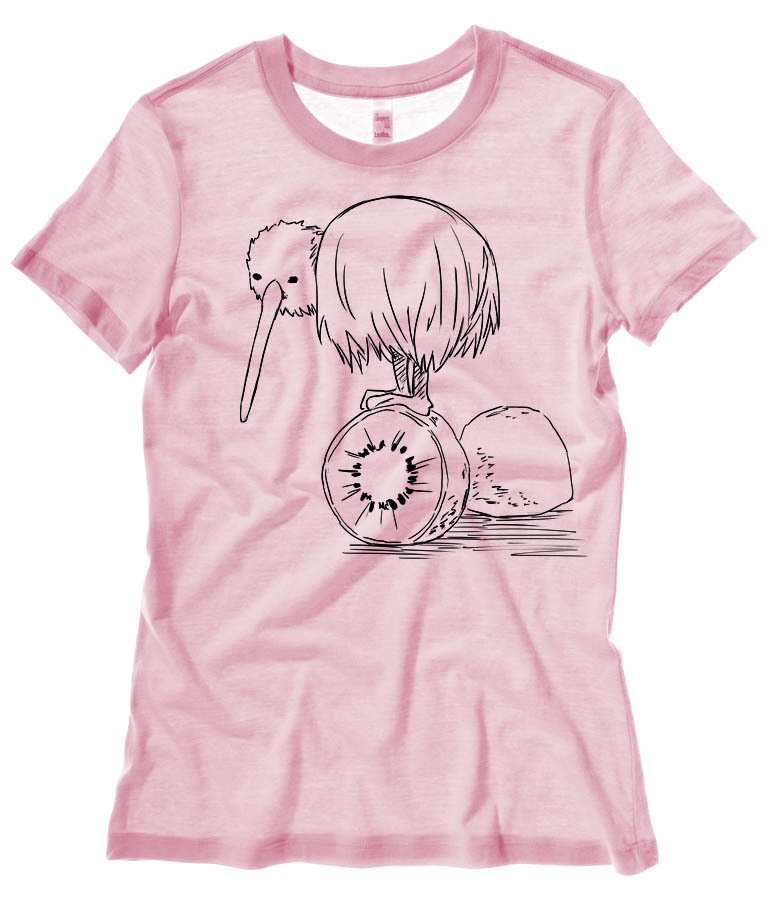 Fruity Kiwi Bird Ladies T-shirt - Light Pink