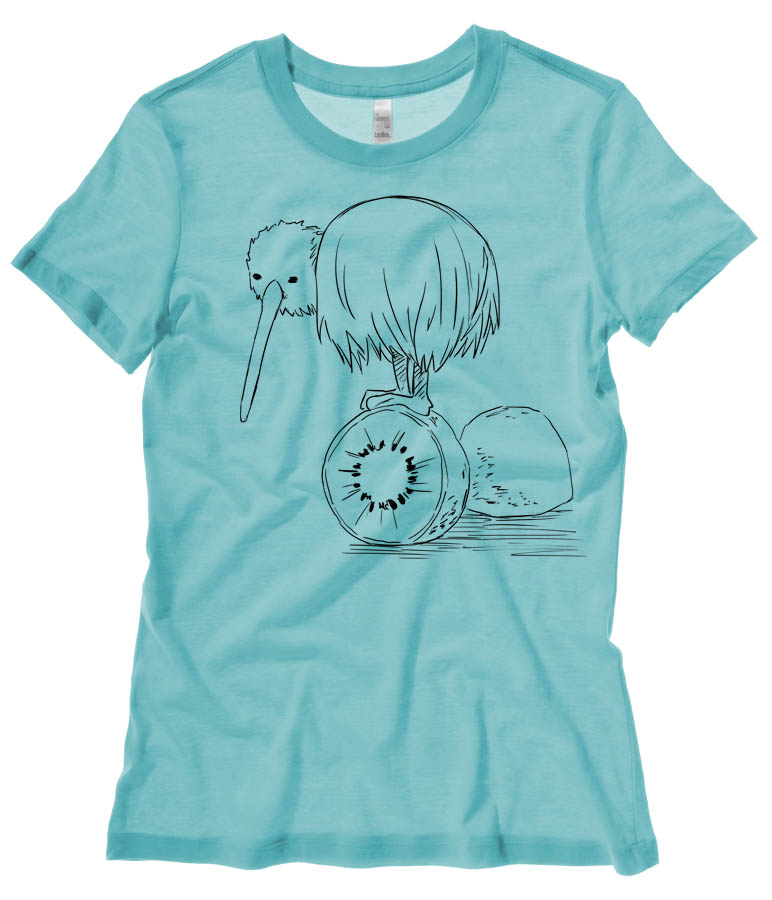 Fruity Kiwi Bird Ladies T-shirt - Teal