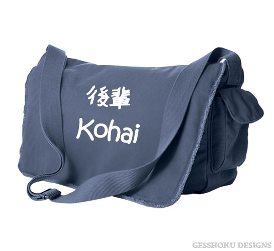 Kohai Japanese Kanji Messenger Bag - Denim Blue
