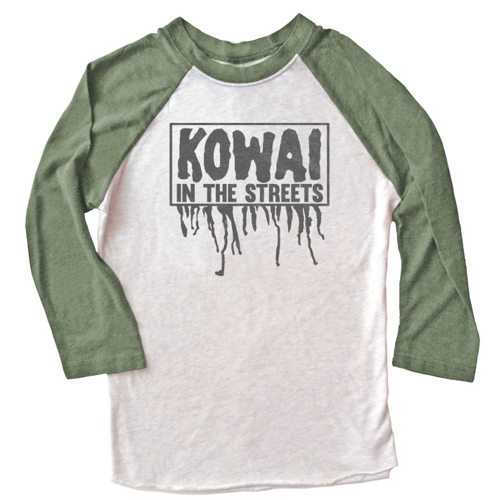 Kowai in the Streets Raglan T-shirt - Olive/White