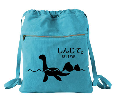 Believe - Monsters in the Water Cinch Backpack - Aqua Blue