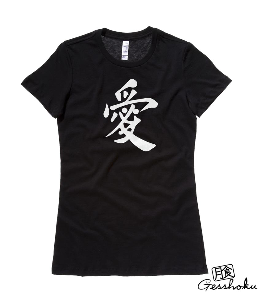 Japanese Kanji Love Ladies T-shirt - Black