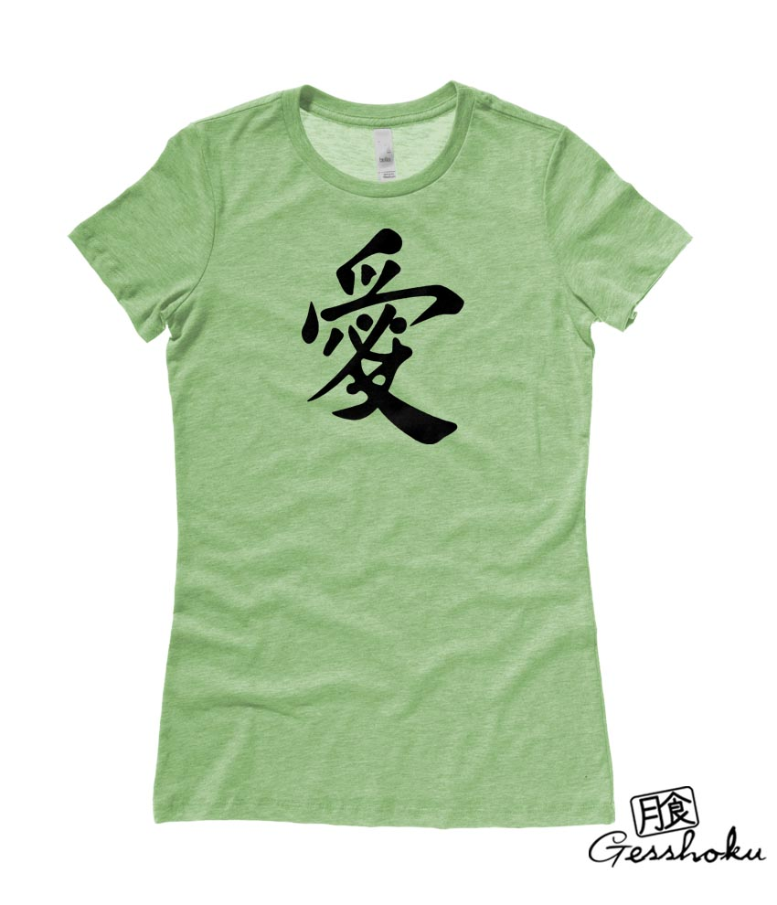 Japanese Kanji Love Ladies T-shirt - Heather Green