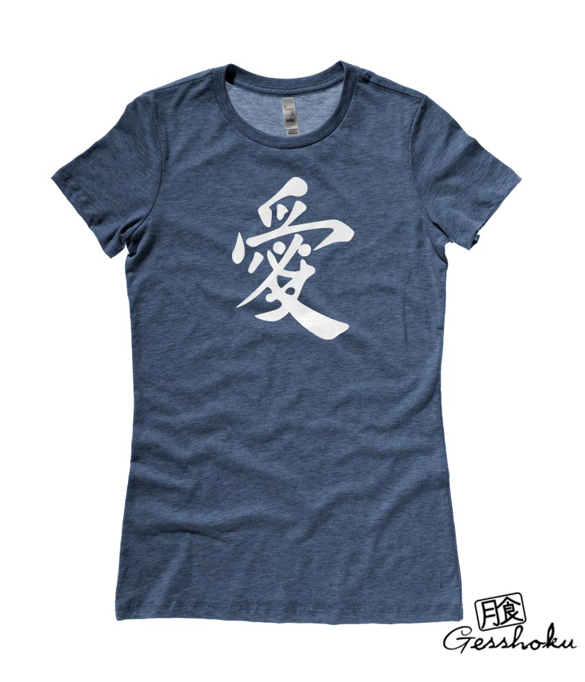 Japanese Kanji Love Ladies T-shirt - Heather Navy