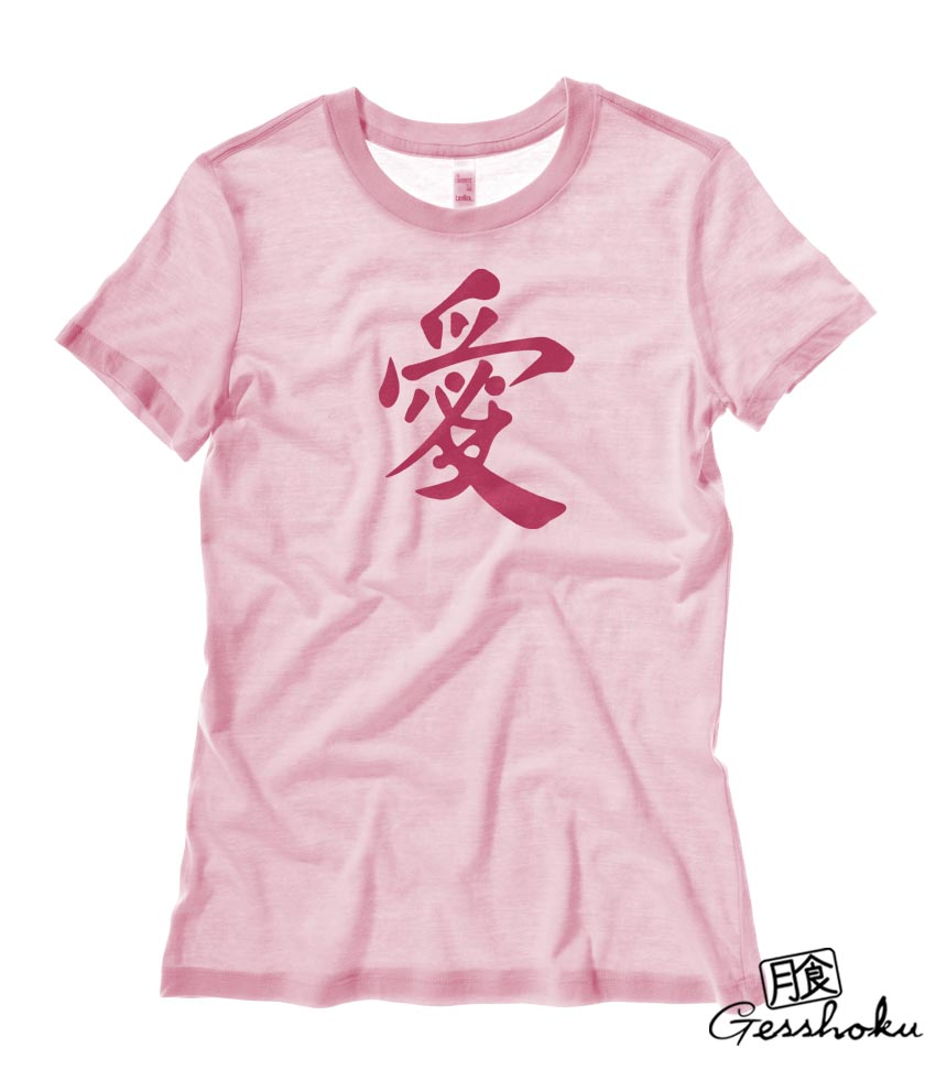 Japanese Kanji Love Ladies T-shirt - Light Pink