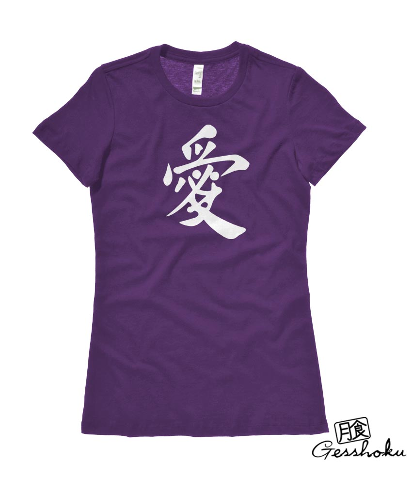 Japanese Kanji Love Ladies T-shirt - Purple