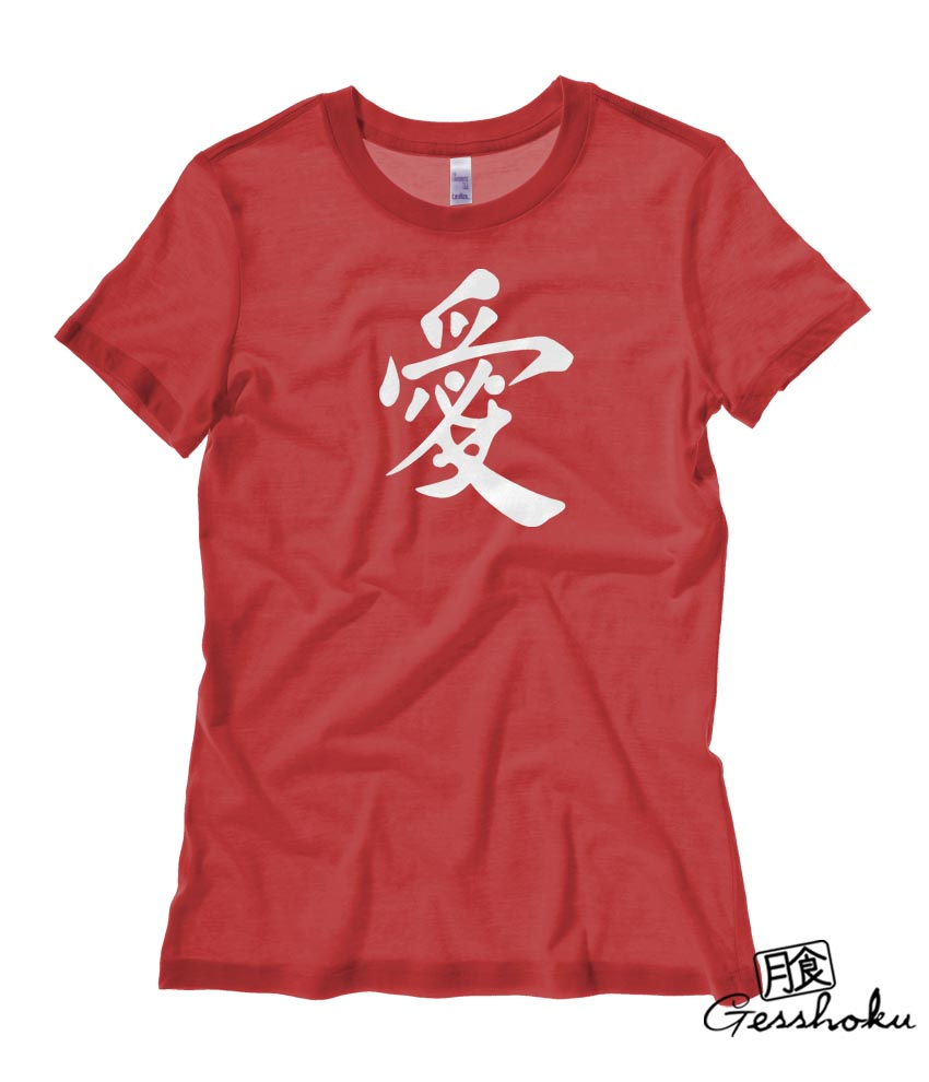 Japanese Kanji Love Ladies T-shirt - Red