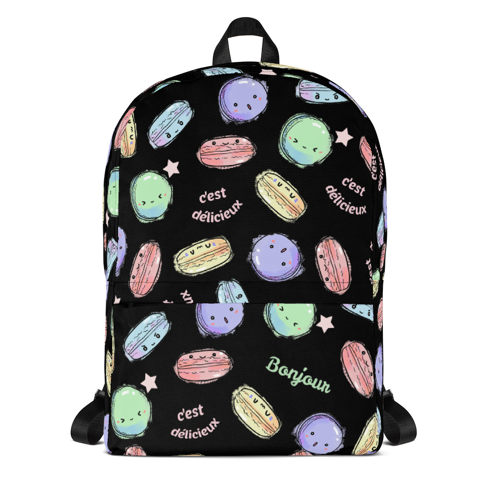 Delicious Macarons Classic Backpack with Laptop Sleeve - Black