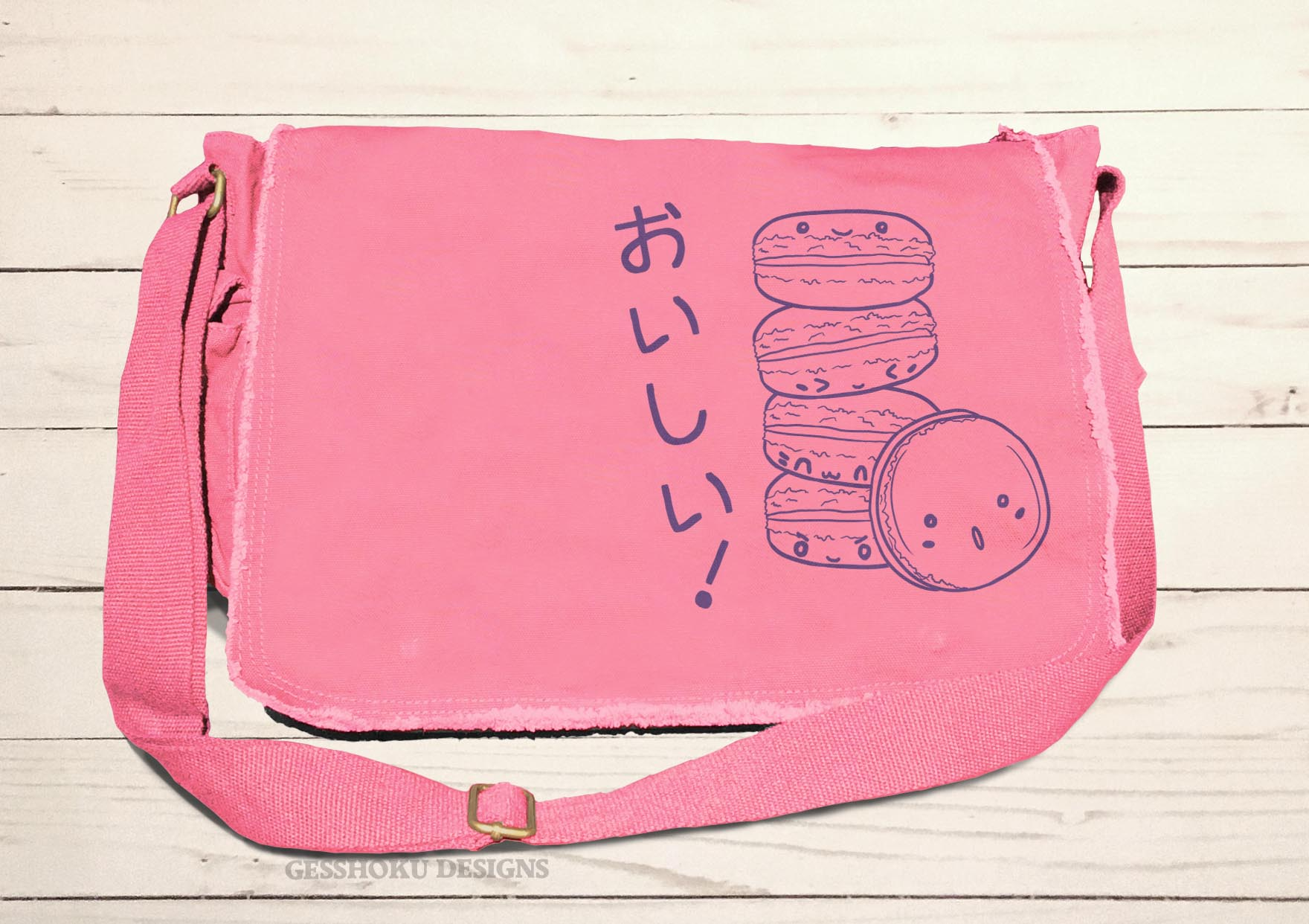 Delicious Macarons Messenger Bag - Pink
