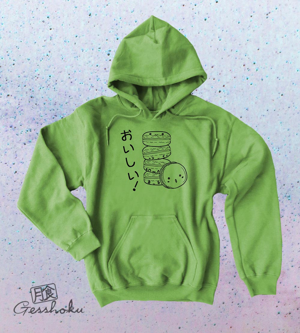 Delicious Macarons Pullover Hoodie - Lime Green