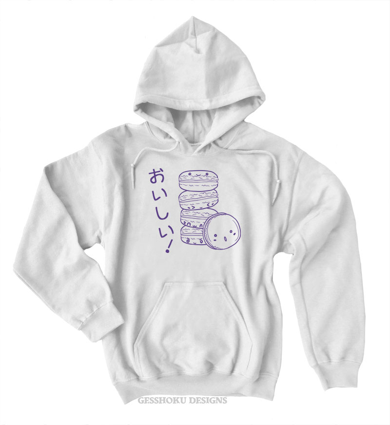 Delicious Macarons Pullover Hoodie - White