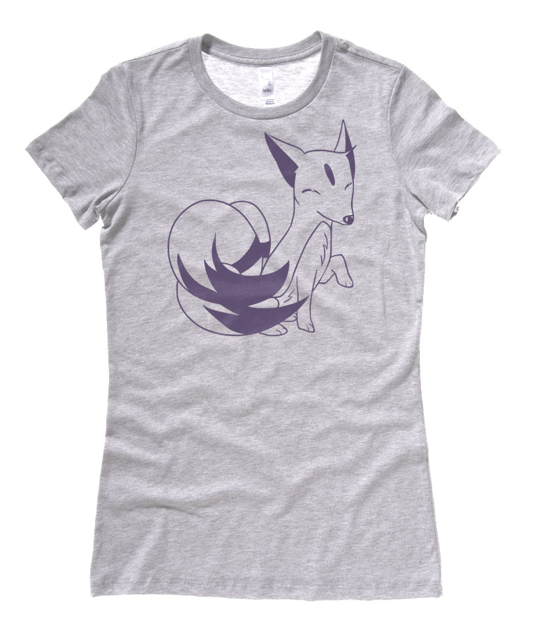 Majestic Kitsune Ladies T-shirt - Light Grey