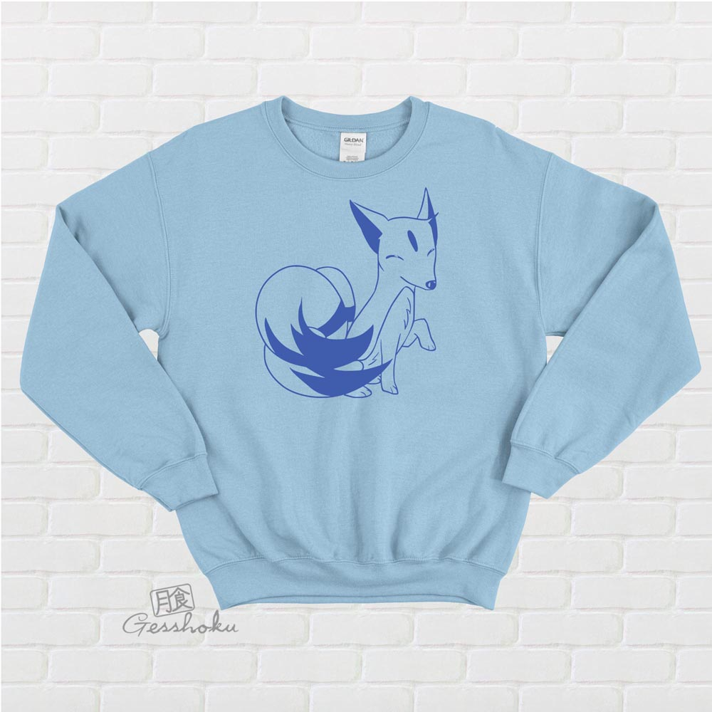 Majestic Kitsune Crewneck Sweatshirt - Light Blue