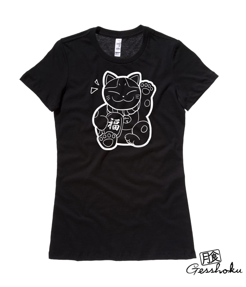 Maneki Neko Ladies T-shirt - Black