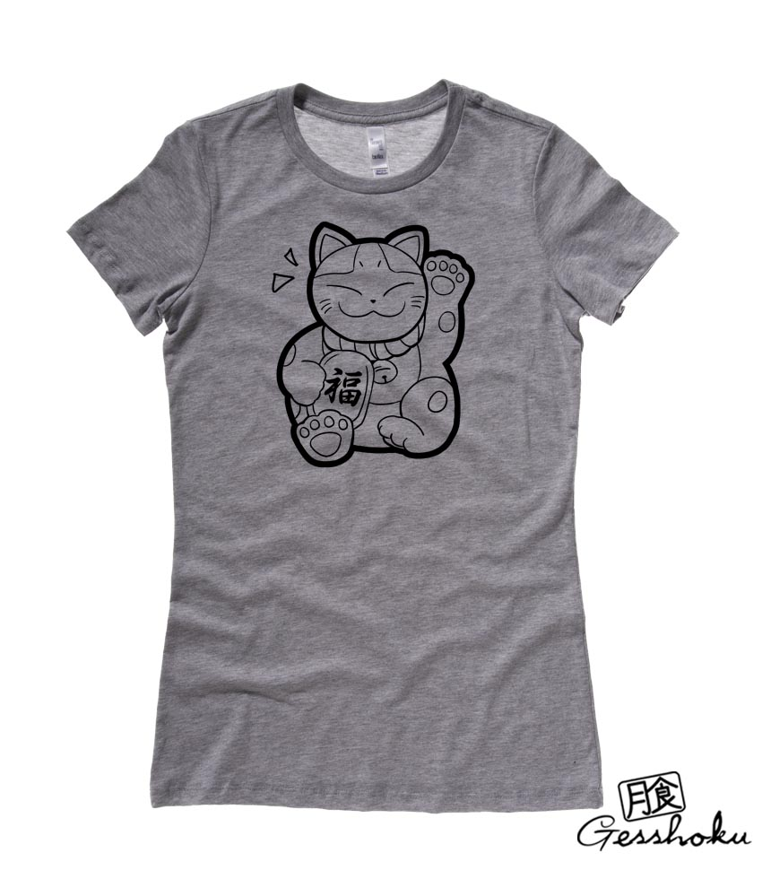 Maneki Neko Ladies T-shirt - Deep Heather Grey