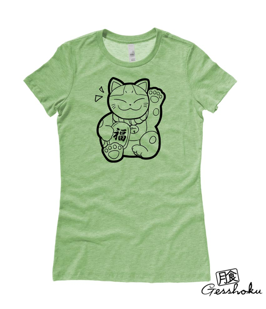 Maneki Neko Ladies T-shirt - Heather Green