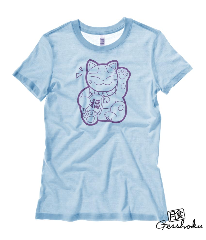 Maneki Neko Ladies T-shirt - Light Blue