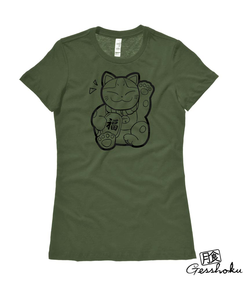 Maneki Neko Ladies T-shirt - Olive Green