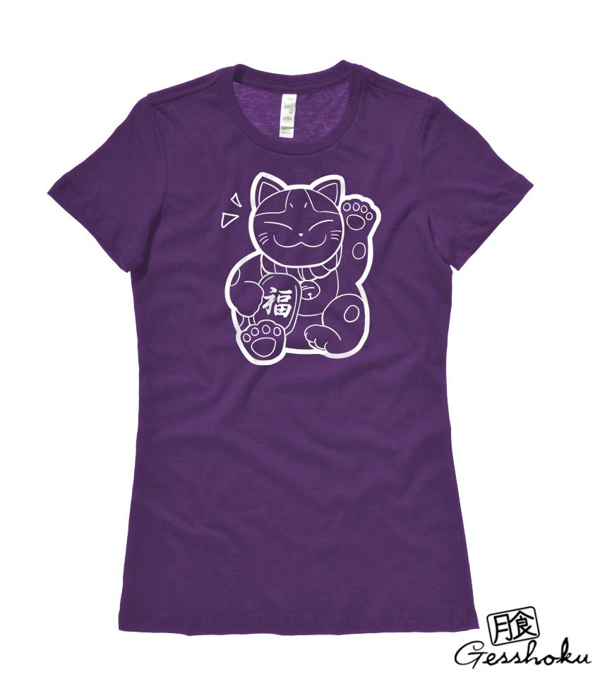Maneki Neko Ladies T-shirt - Purple