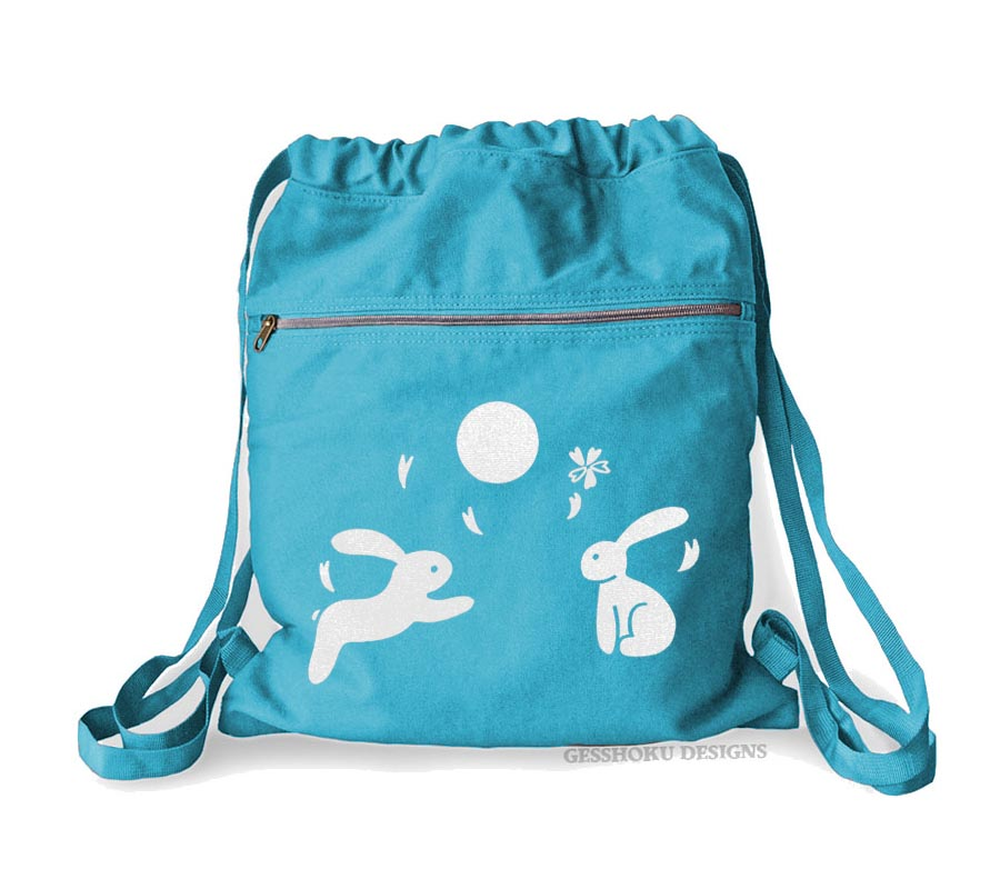 Asian Moon Bunnies Cinch Backpack - Aqua Blue