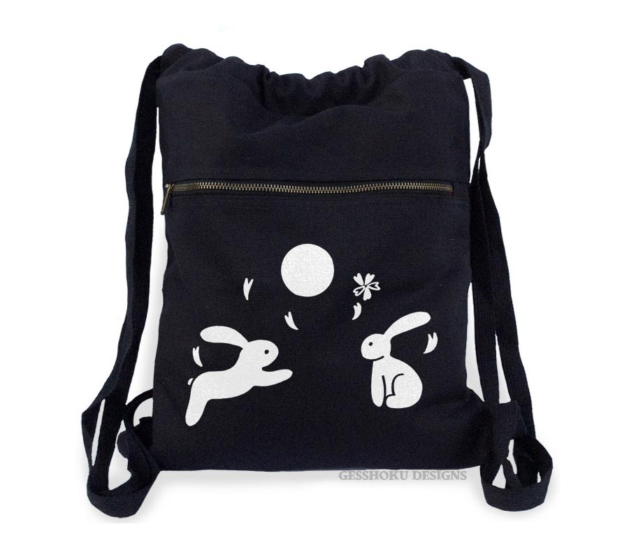 Asian Moon Bunnies Cinch Backpack - Black