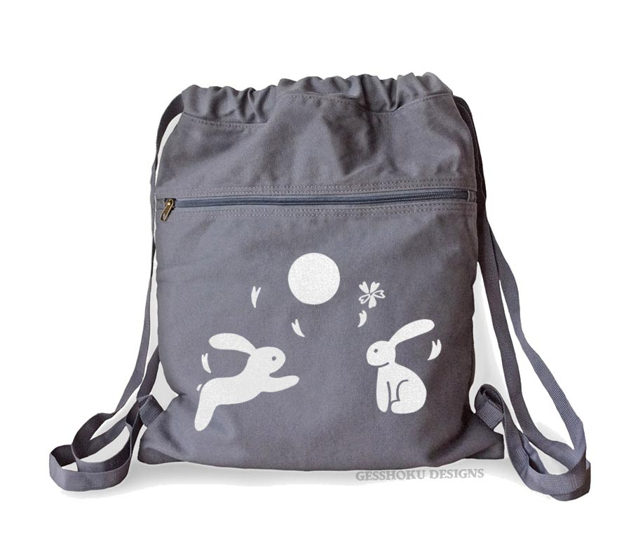 Asian Moon Bunnies Cinch Backpack - Smoke Grey