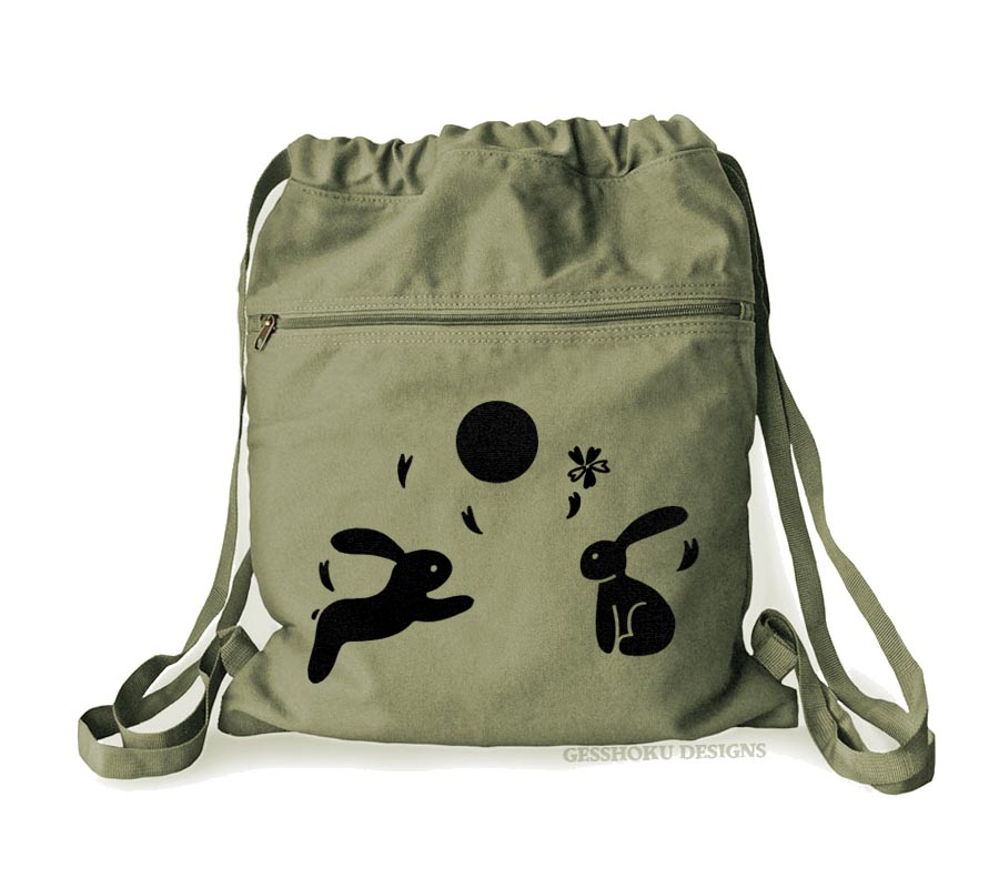 Asian Moon Bunnies Cinch Backpack - Khaki Green