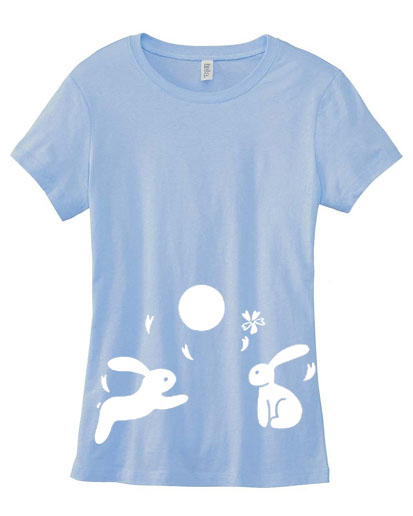 Japanese Moon Bunnies Ladies T-shirt - Light Blue